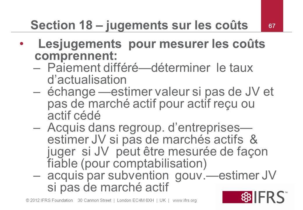 Section 18 – jugements sur les coûts