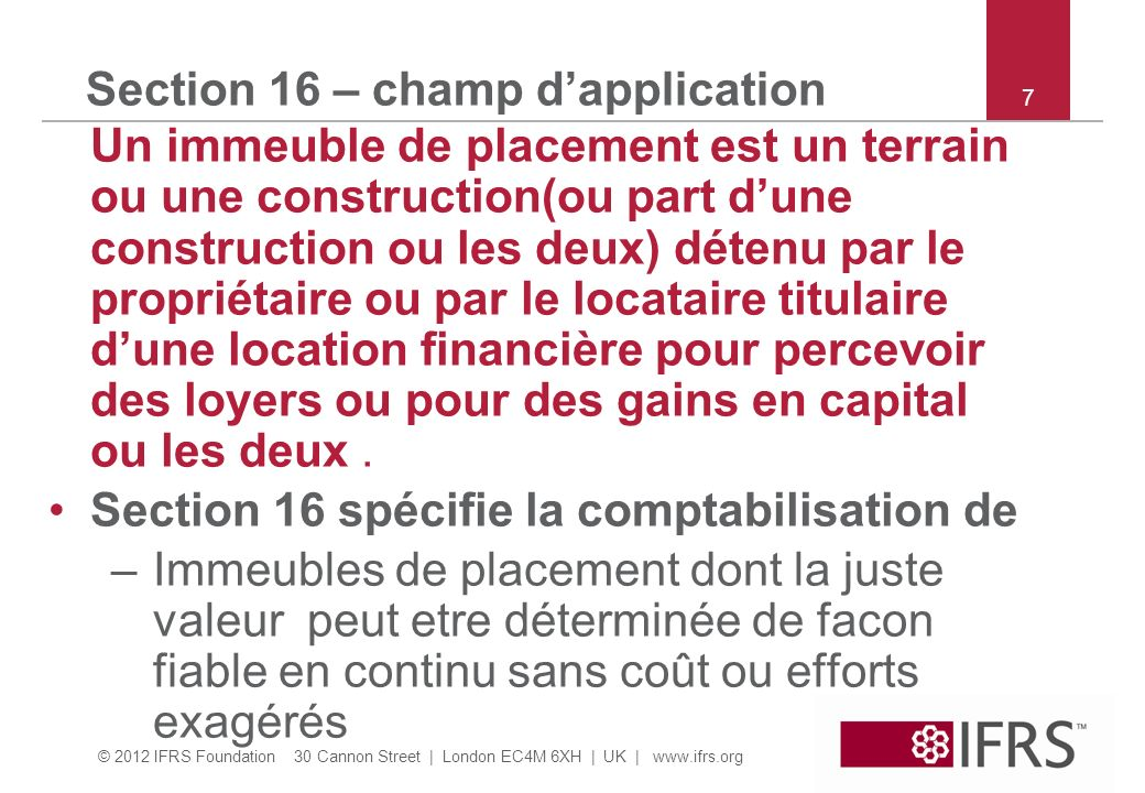 Section 16 – champ d'application