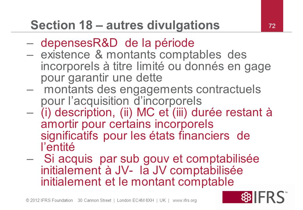 Section 18 – autres divulgations