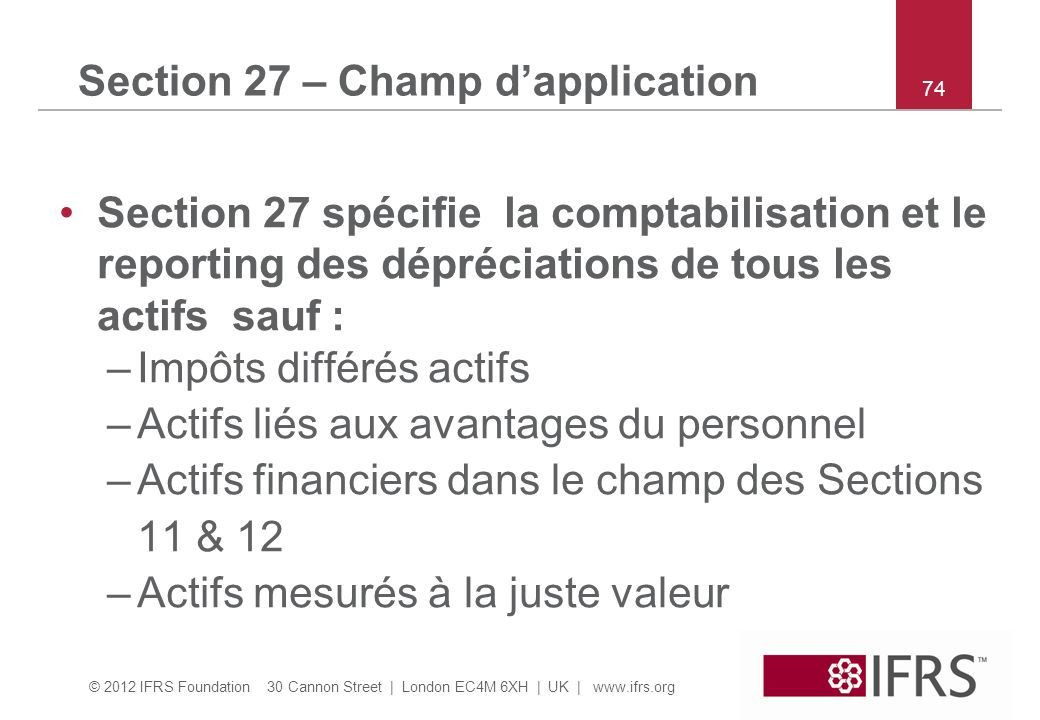 Section 27 – Champ d'application
