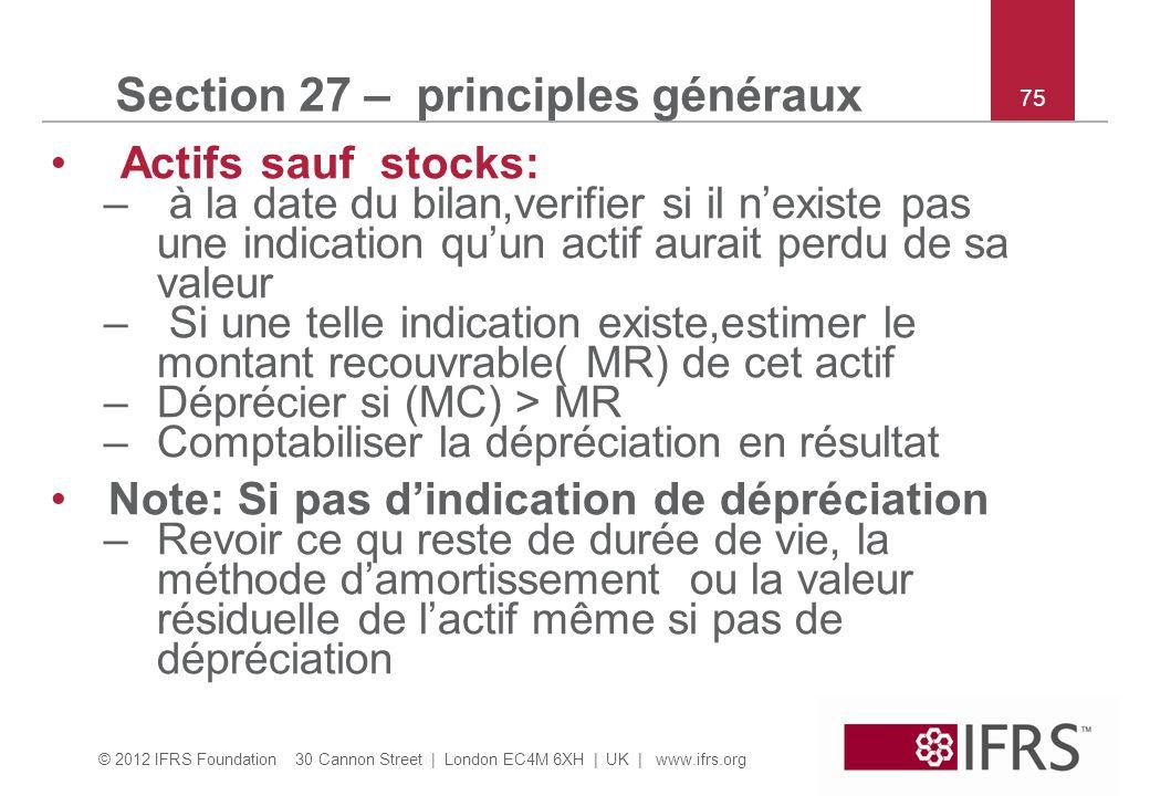Section 27 – principles généraux
