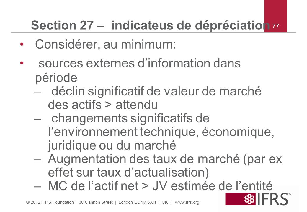 Section 27 – indicateus de dépréciation