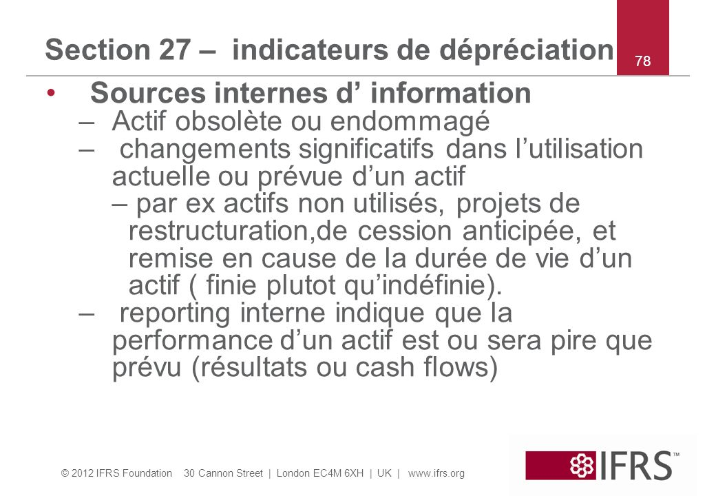 Section 27 – indicateurs de dépréciation