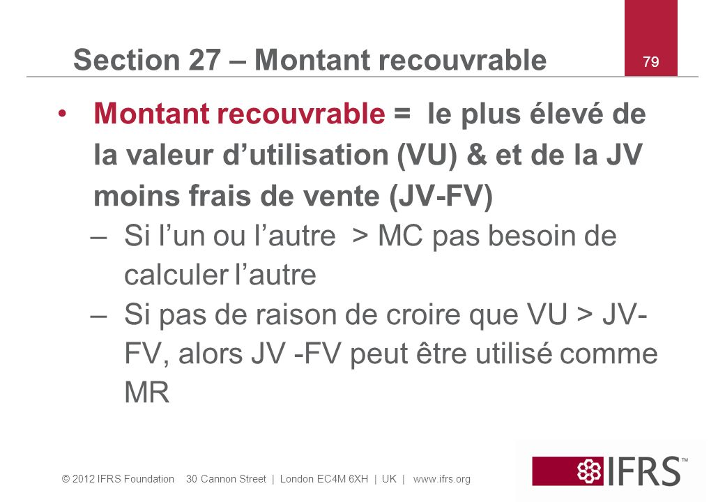 Section 27 – Montant recouvrable