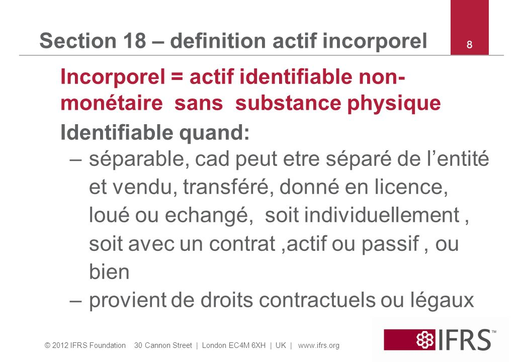 Section 18 – definition actif incorporel