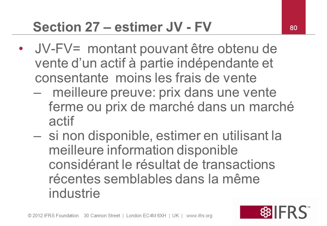 Section 27 – estimer JV - FV