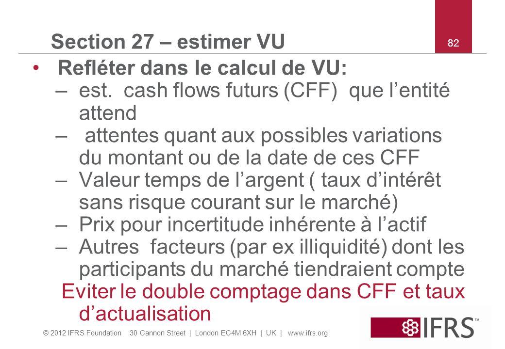 Refléter dans le calcul de VU: