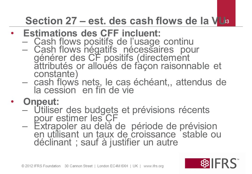 Section 27 – est. des cash flows de la VU