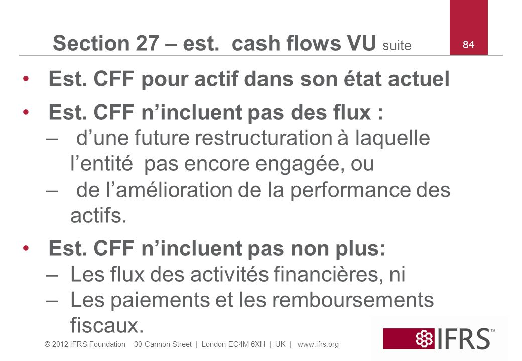 Section 27 – est. cash flows VU suite