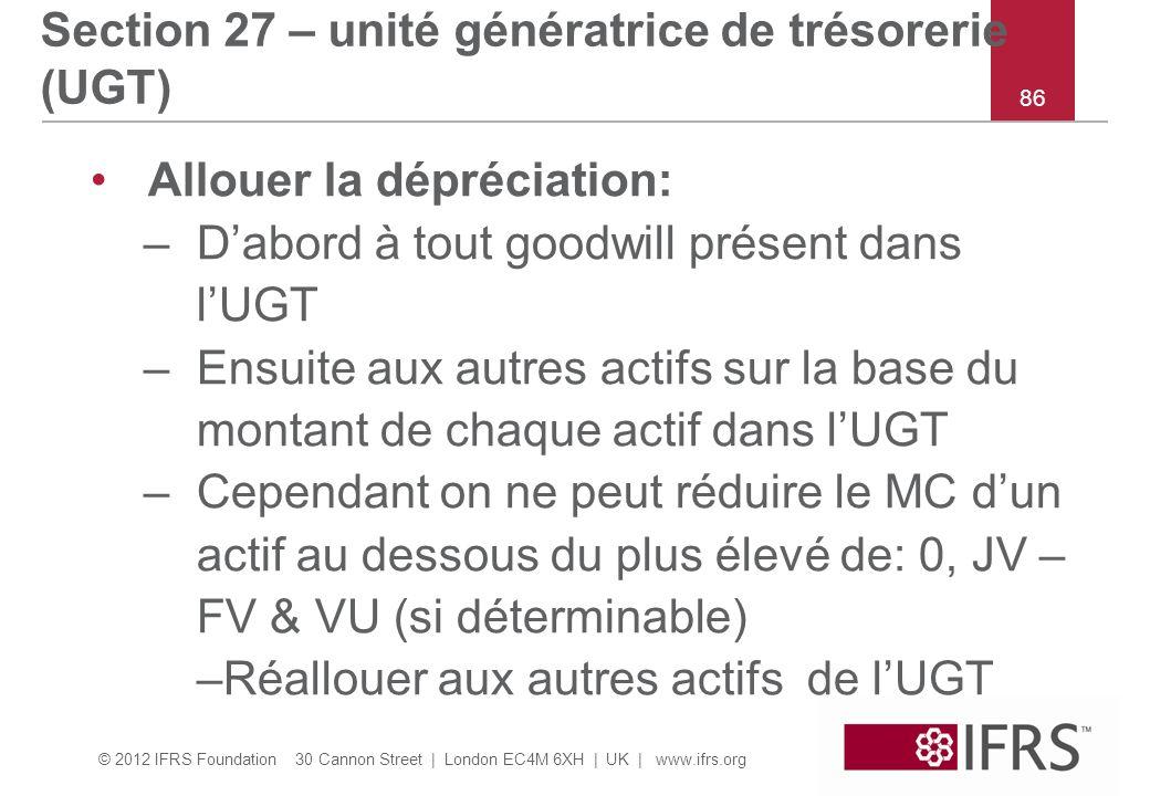 Section 27 – unité génératrice de trésorerie (UGT)