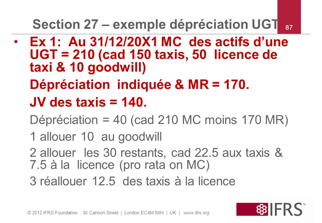 Section 27 – exemple dépréciation UGT
