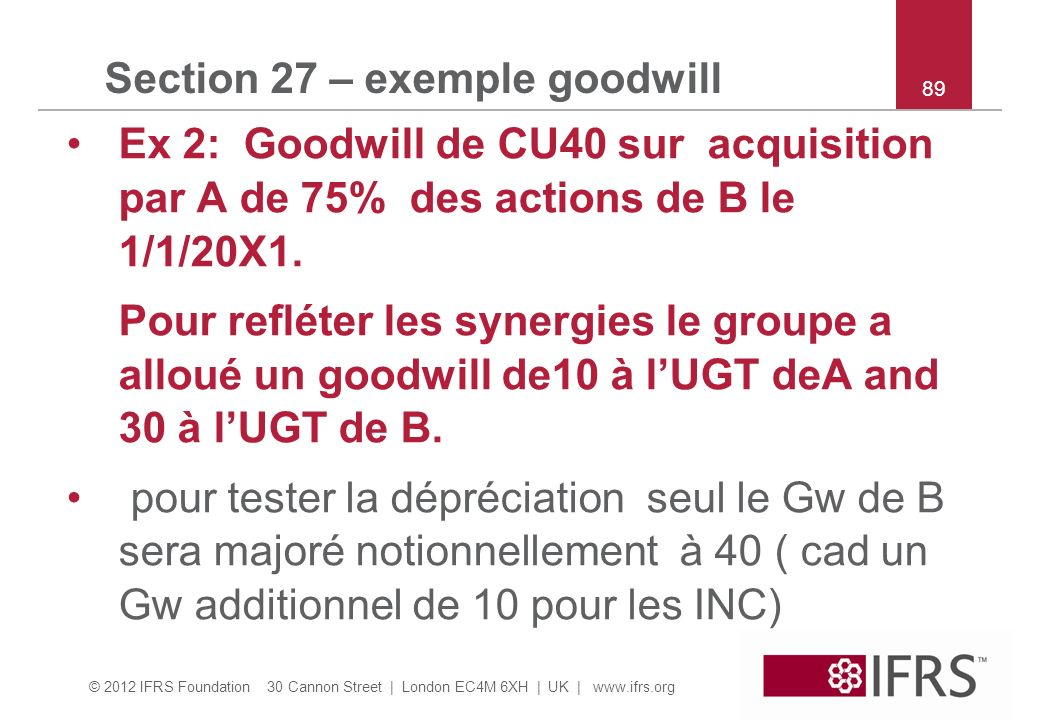 Section 27 – exemple goodwill