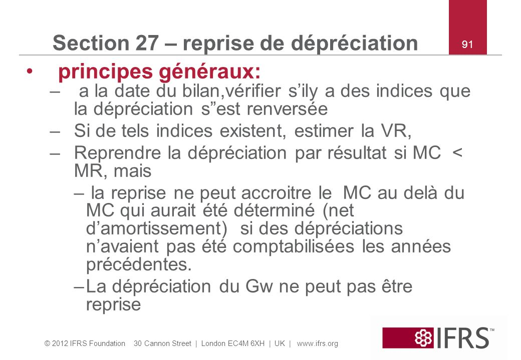 Section 27 – reprise de dépréciation