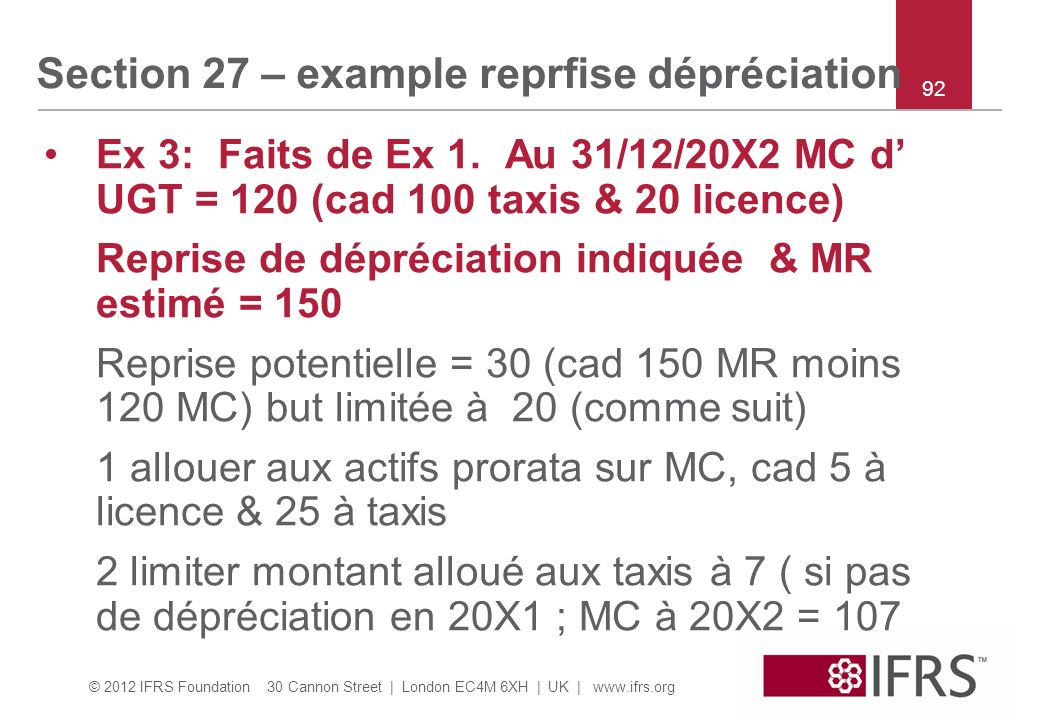 Section 27 – example reprfise dépréciation