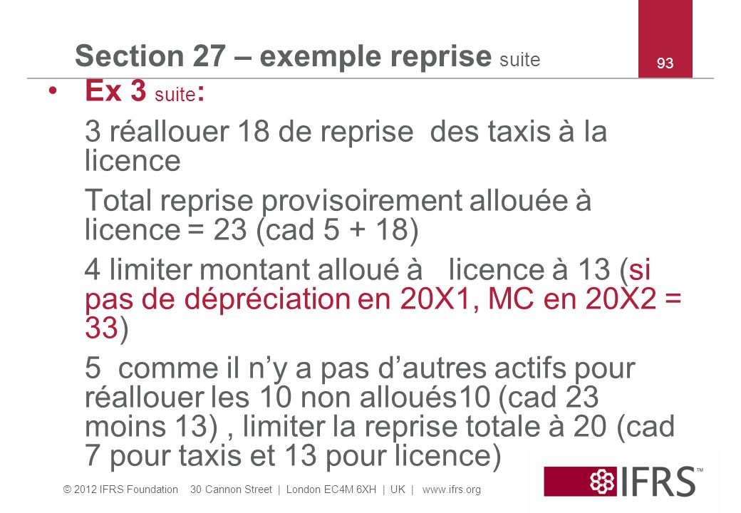 Section 27 – exemple reprise suite