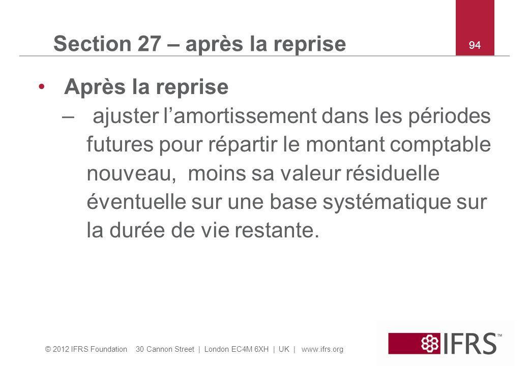 Section 27 – après la reprise