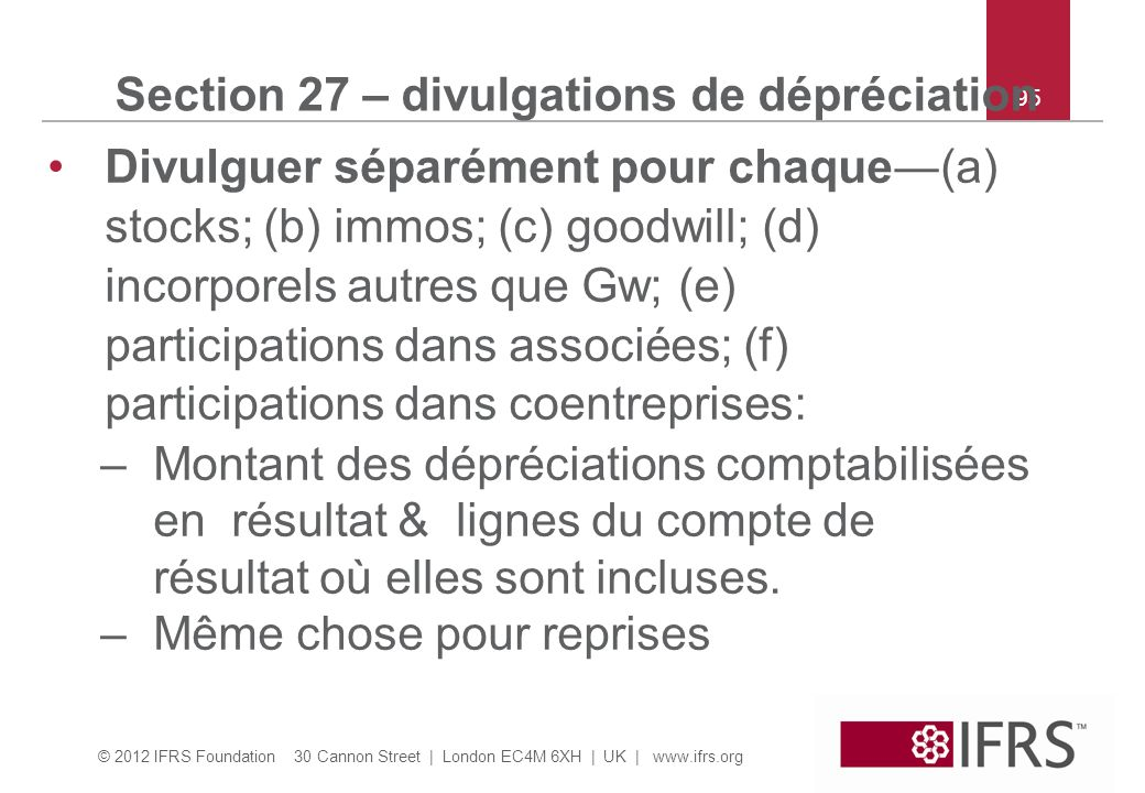 Section 27 – divulgations de dépréciation