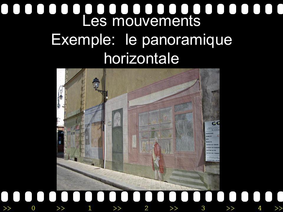 Les mouvements Exemple: le panoramique horizontale