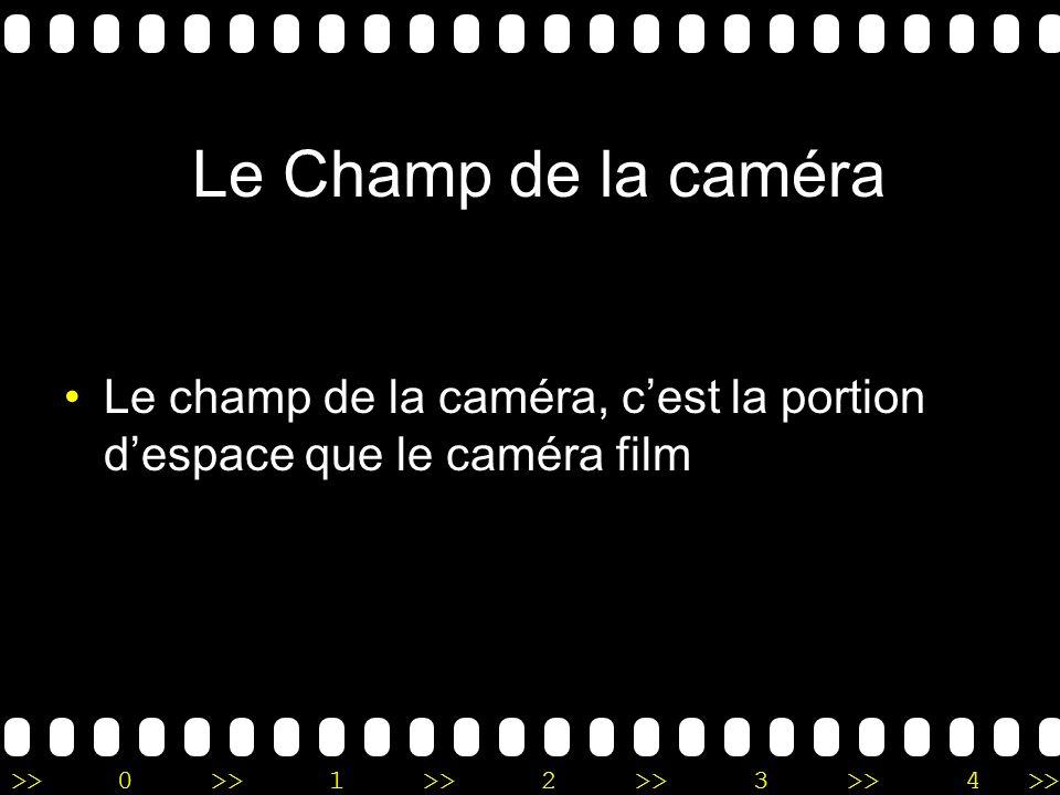 Le Champ de la caméra Le champ de la caméra, c'est la portion d'espace que le caméra film