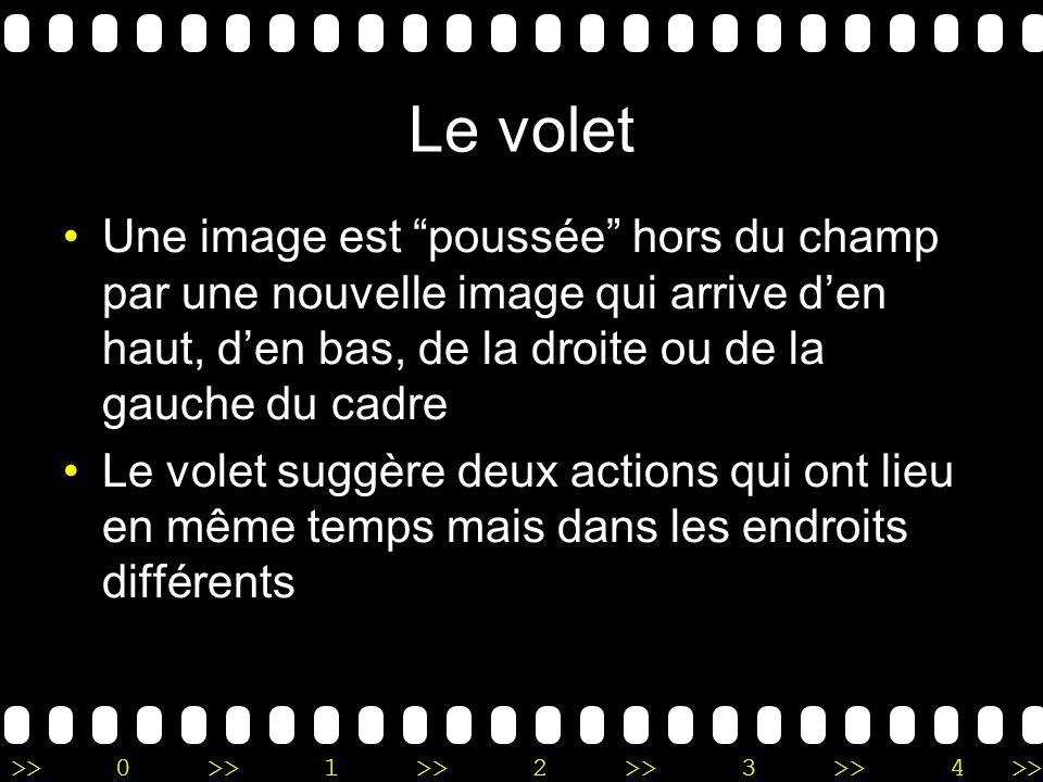 Le volet Une image est poussée hors du champ par une nouvelle image qui arrive d'en haut, d'en bas, de la droite ou de la gauche du cadre.