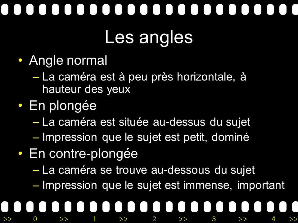 Les angles Angle normal En plongée En contre-plongée