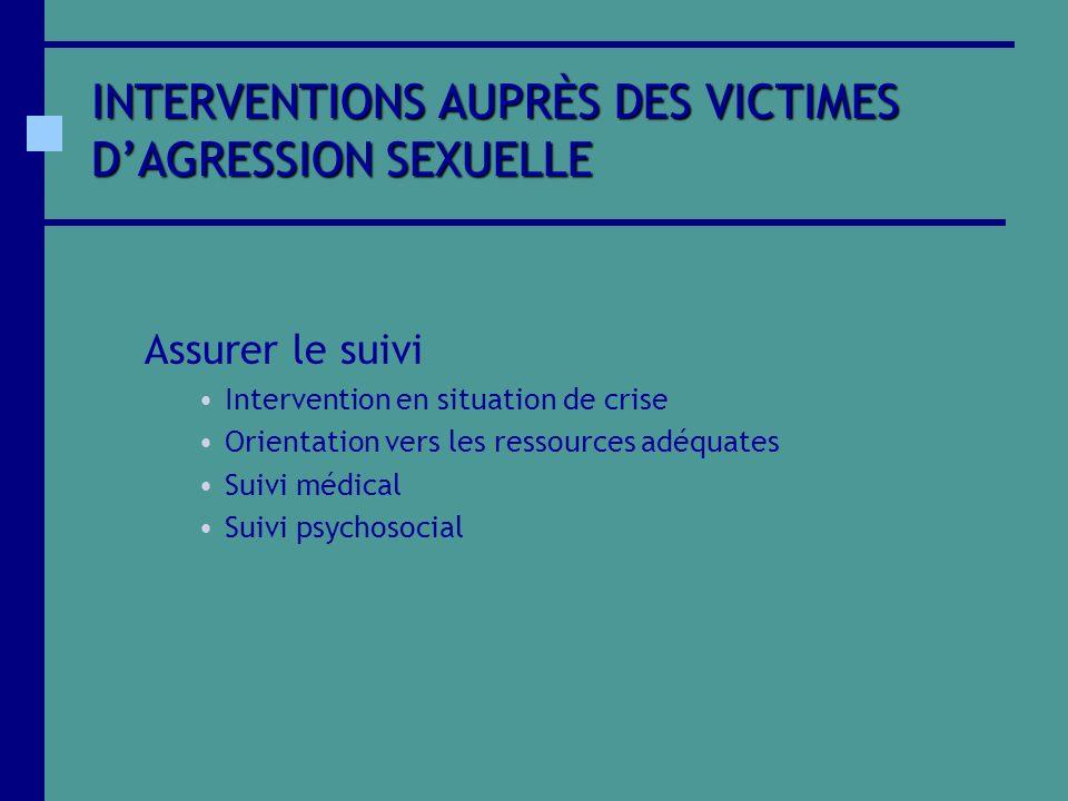 INTERVENTIONS AUPRÈS DES VICTIMES D'AGRESSION SEXUELLE