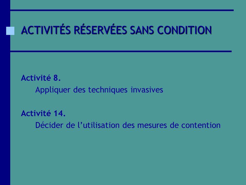 ACTIVITÉS RÉSERVÉES SANS CONDITION