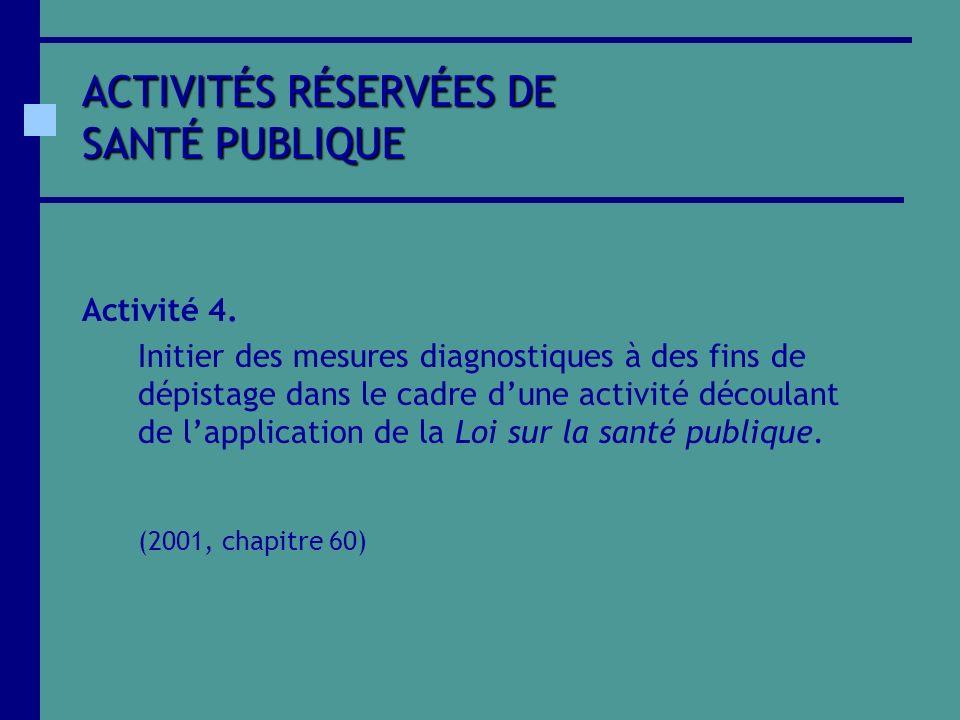 ACTIVITÉS RÉSERVÉES DE SANTÉ PUBLIQUE