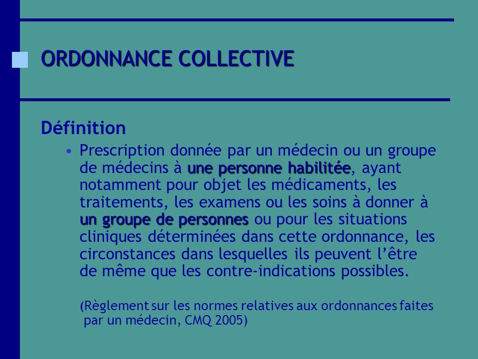 ORDONNANCE COLLECTIVE
