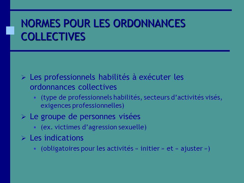 NORMES POUR LES ORDONNANCES COLLECTIVES