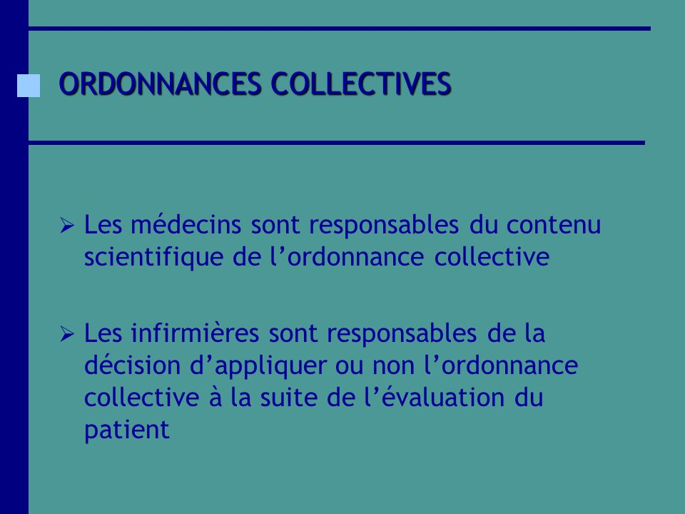 ORDONNANCES COLLECTIVES