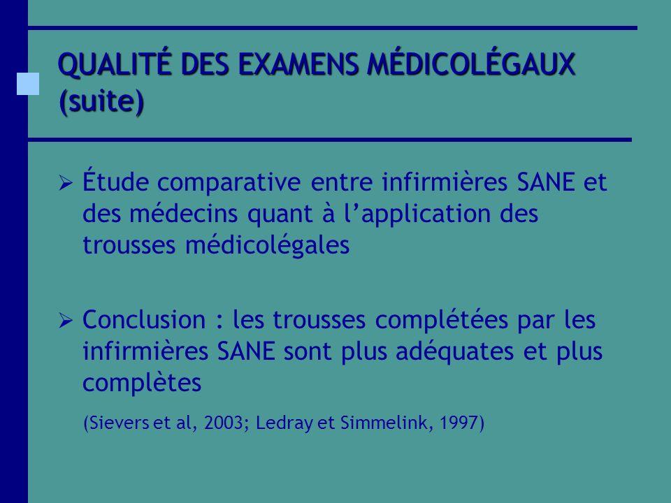 QUALITÉ DES EXAMENS MÉDICOLÉGAUX (suite)