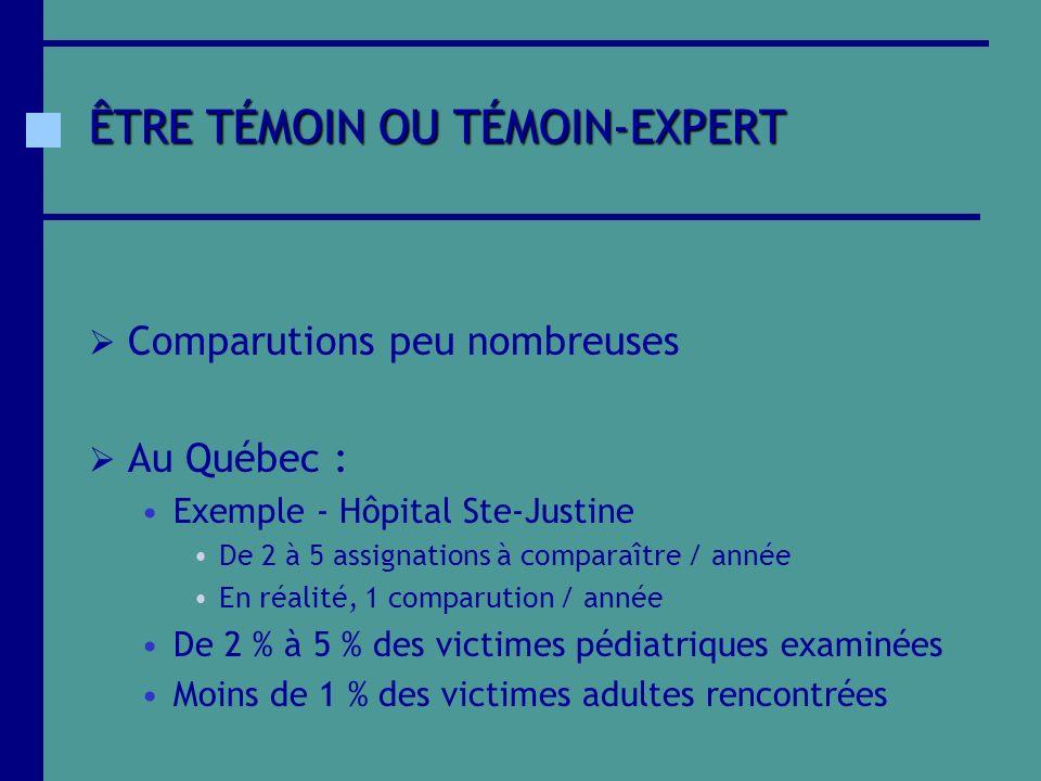 ÊTRE TÉMOIN OU TÉMOIN-EXPERT