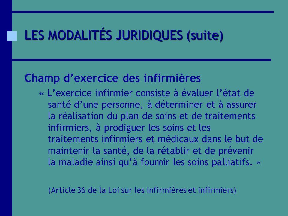 LES MODALITÉS JURIDIQUES (suite)