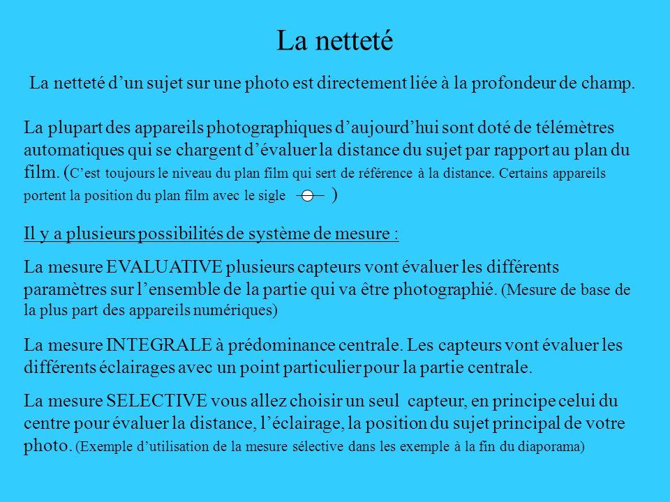 La netteté La netteté d'un sujet sur une photo est directement liée à la profondeur de champ.