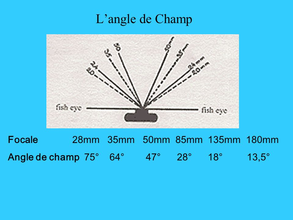 L'angle de Champ Focale 28mm 35mm 50mm 85mm 135mm 180mm