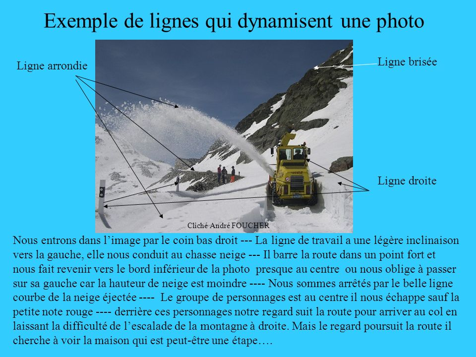 Exemple de lignes qui dynamisent une photo