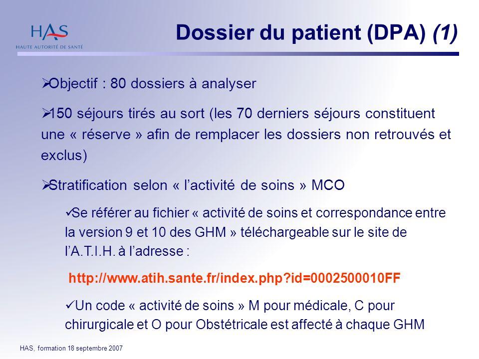 Dossier du patient (DPA) (1)