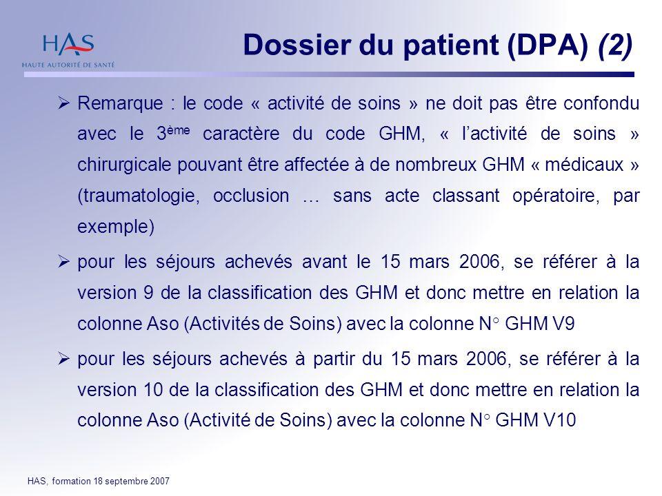 Dossier du patient (DPA) (2)