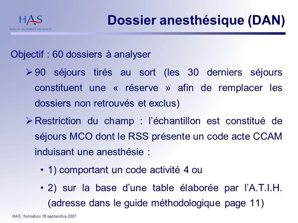 Dossier anesthésique (DAN)