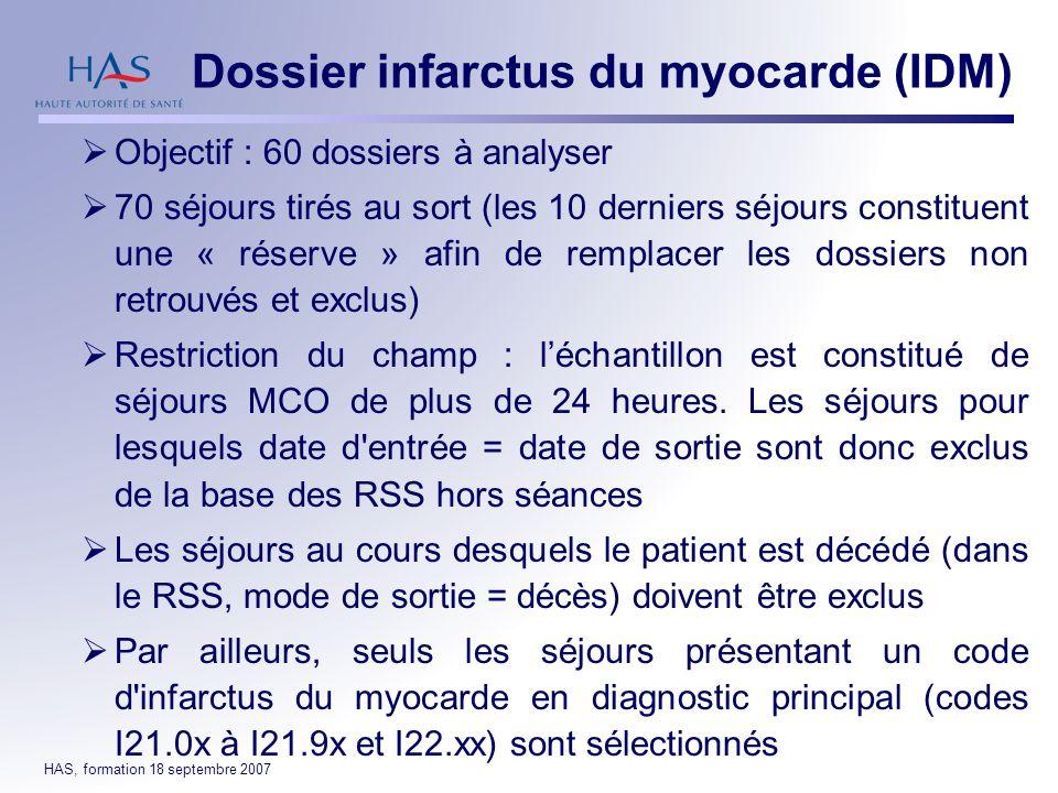 Dossier infarctus du myocarde (IDM)