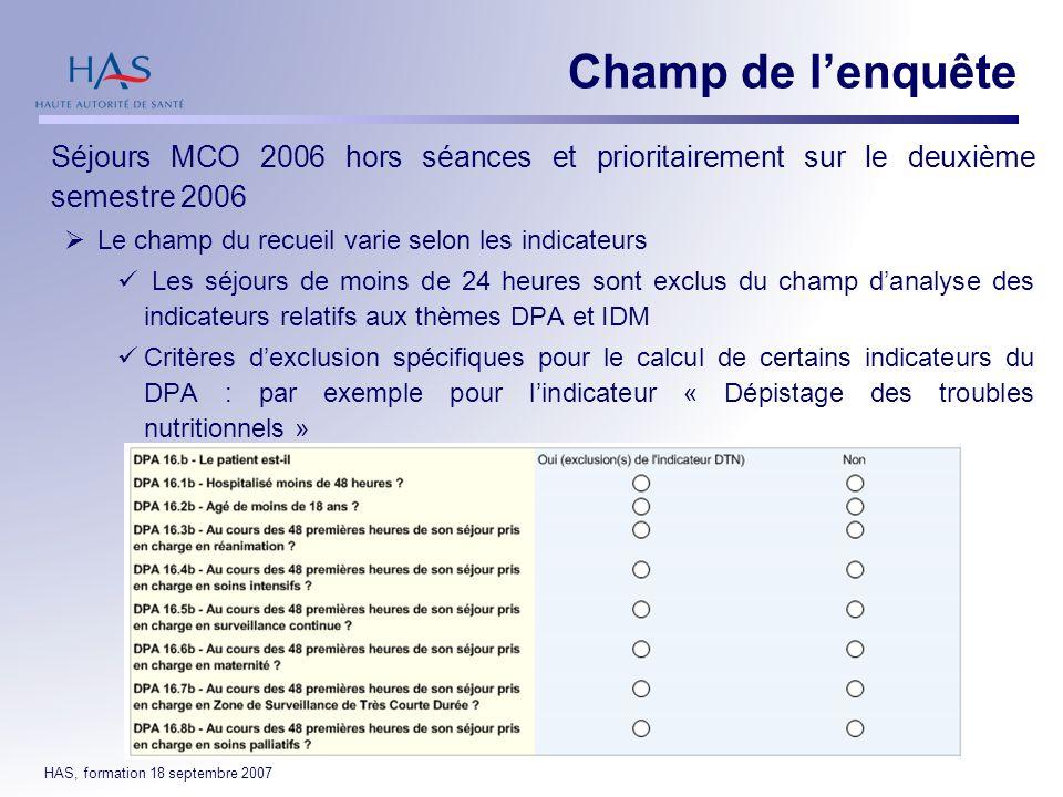 31/03/2017 Champ de l'enquête. Séjours MCO 2006 hors séances et prioritairement sur le deuxième semestre 2006.