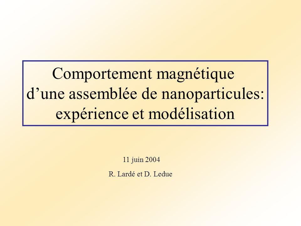 Comportement magnétique d'une assemblée de nanoparticules: