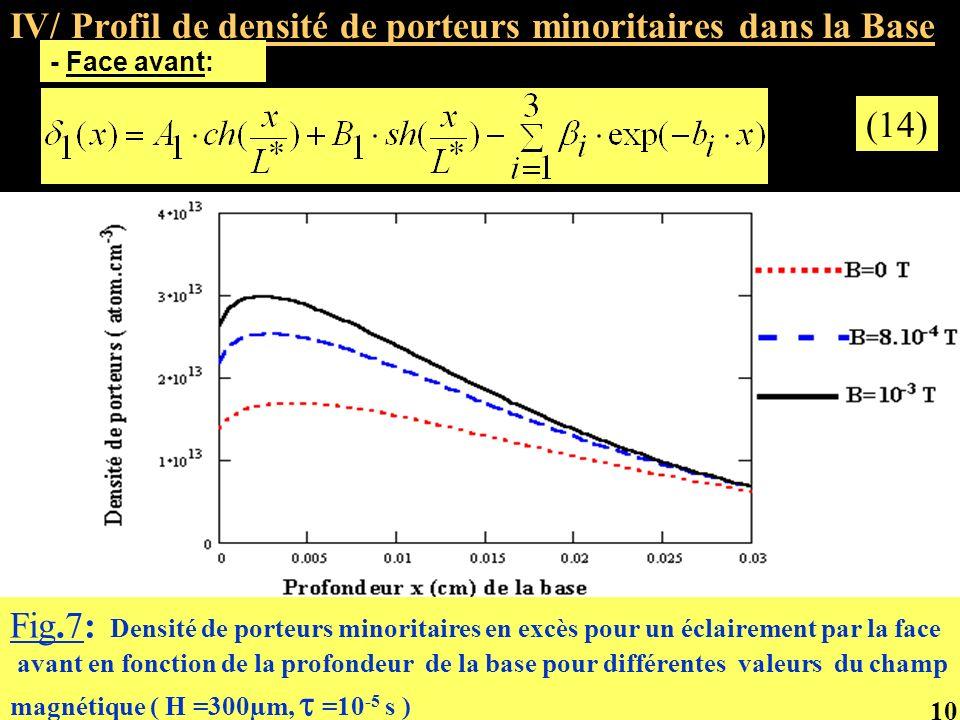 IV/ Profil de densité de porteurs minoritaires dans la Base