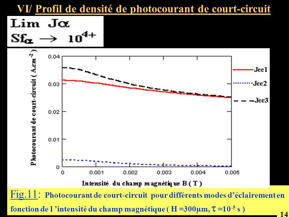 VI/ Profil de densité de photocourant de court-circuit