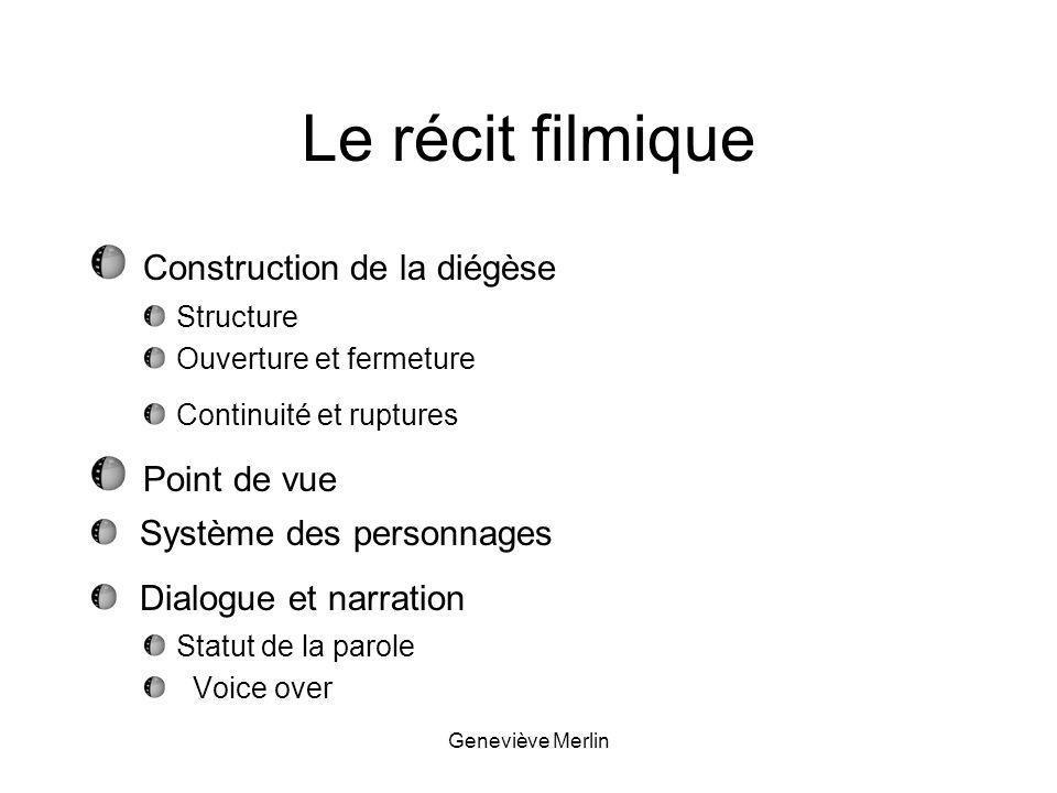 Le récit filmique Construction de la diégèse Point de vue