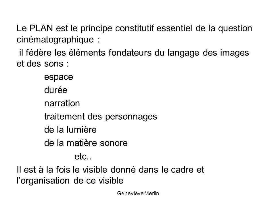 Le PLAN est le principe constitutif essentiel de la question cinématographique : il fédère les éléments fondateurs du langage des images et des sons : espace durée narration traitement des personnages de la lumière de la matière sonore etc.. Il est à la fois le visible donné dans le cadre et l'organisation de ce visible