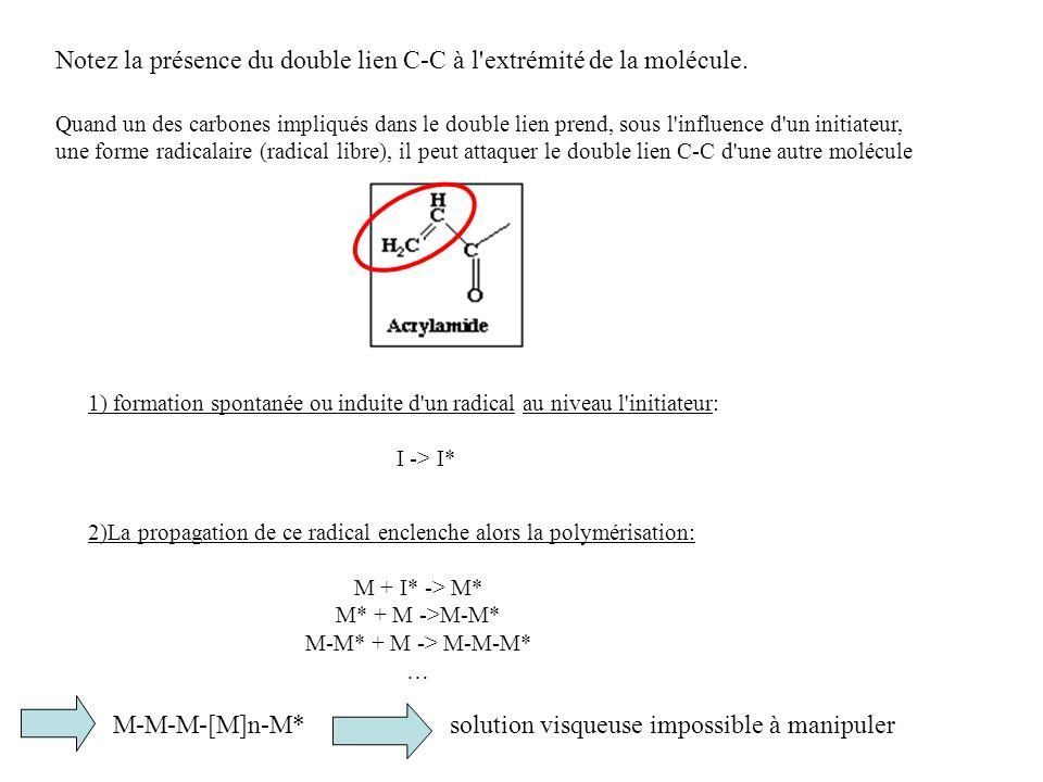 Notez la présence du double lien C-C à l extrémité de la molécule.