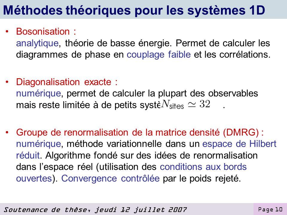 Méthodes théoriques pour les systèmes 1D
