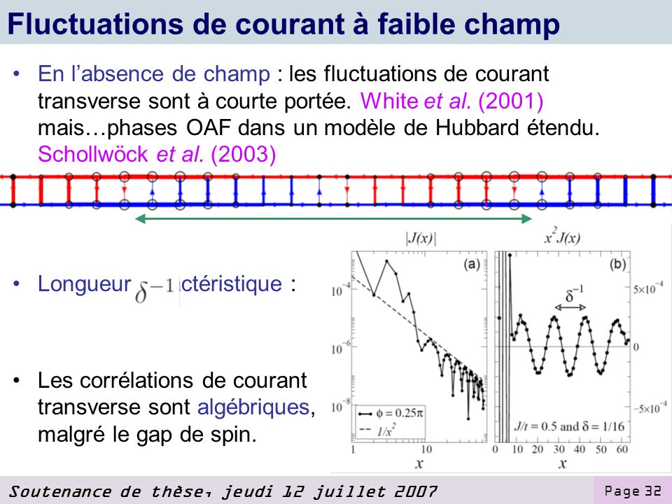 Fluctuations de courant à faible champ